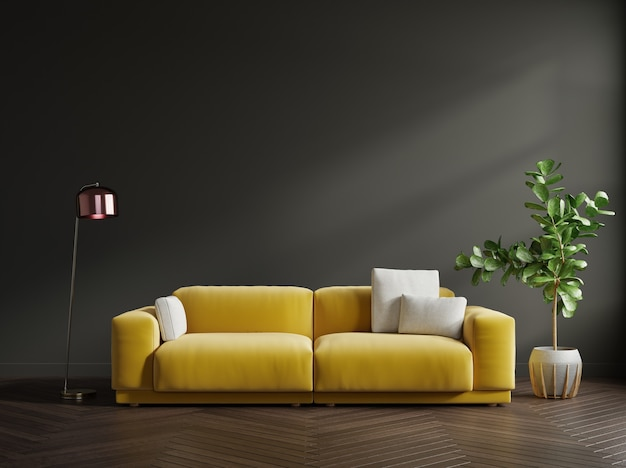 Moderne woonkamer interieur met verlichtende bank en groene planten, lamp, tafel op ultieme grijze muur achtergrond. 3d-weergave
