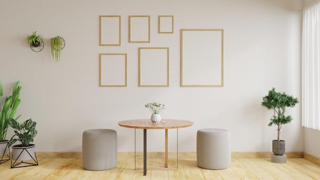 Moderne woonkamer is versierd met planten en banken met fotolijsten op witte muren. 3d-weergave.