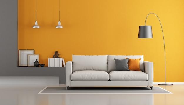 Moderne woonkamer met bank. 3d-weergave