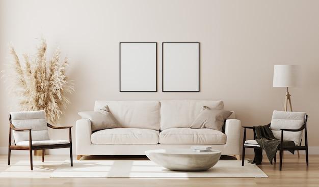 Moderne woonkamer met bank en decoraties