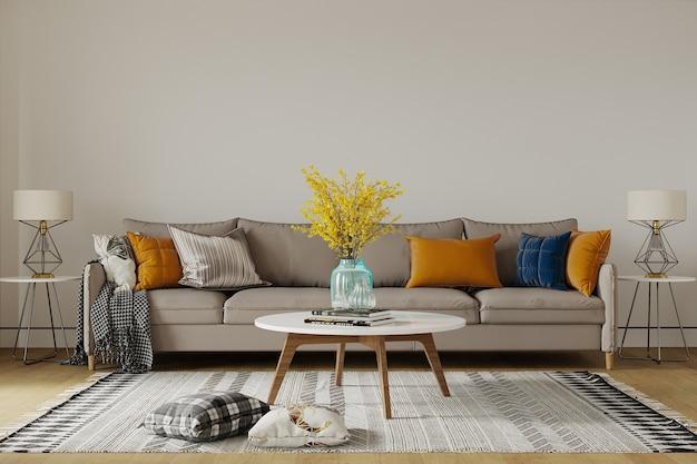 Moderne woonkamer met bank en kleurrijk kussen