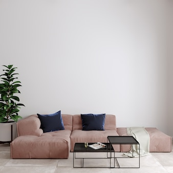 Moderne woonkamer met bank en kussen voor de witte muur