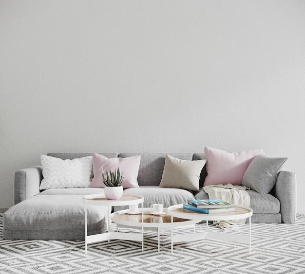 Moderne woonkamer met bank en kussen