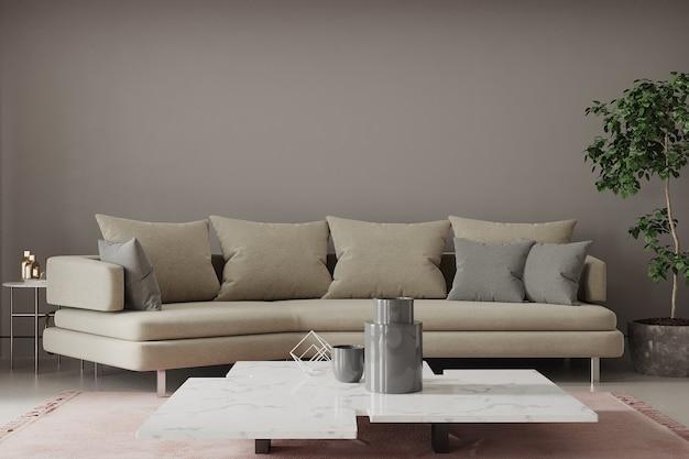 Moderne woonkamer met bank en tafel en kussens