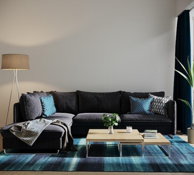 Moderne woonkamer met blauwe bank en kussens