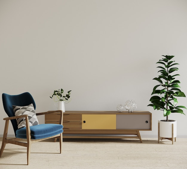 Moderne woonkamer met blauwe fauteuil