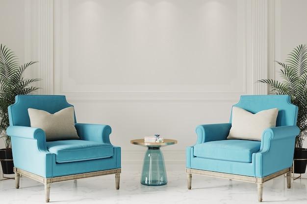 Moderne woonkamer met blauwe fauteuils