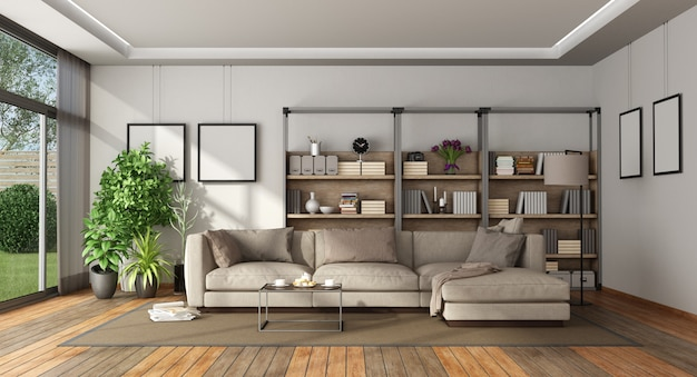 Moderne woonkamer met boekenkast en bank
