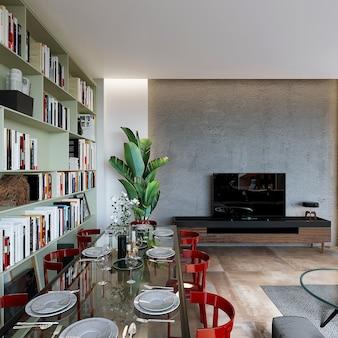 Moderne woonkamer met eettafel en boekenplank op de houten vloer, 3d render