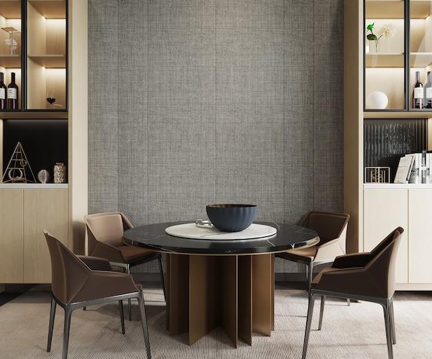 Moderne woonkamer met eettafel en kast, 3d render, muurmodel, kadermodel