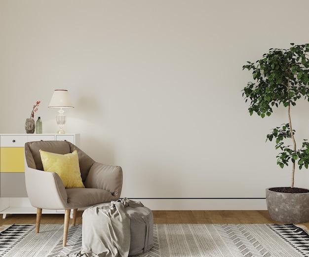 Moderne woonkamer met fauteuil en geel kussen