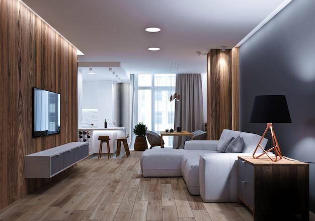 Moderne woonkamer met gang en woonkeuken