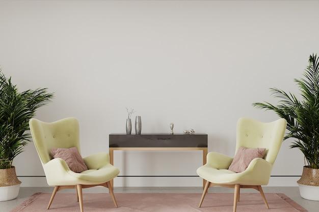 Moderne woonkamer met gele fauteuil
