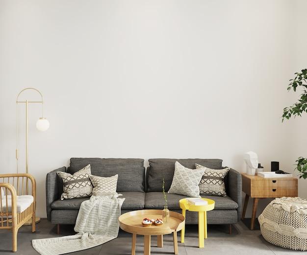 Moderne woonkamer met grijze bank, 3d render, muurmodel, frame mockup