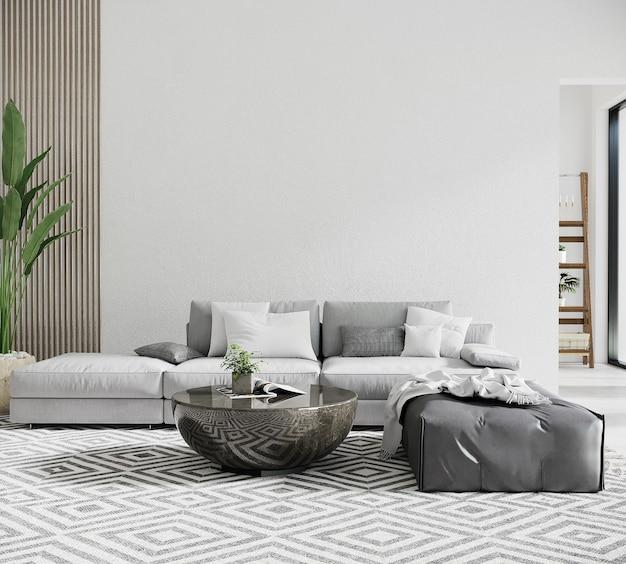 Moderne woonkamer met grijze bank en tafel