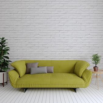 Moderne woonkamer met groene bank en planten