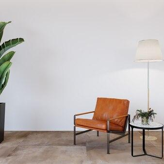 Moderne woonkamer met lederen fauteuil en decors