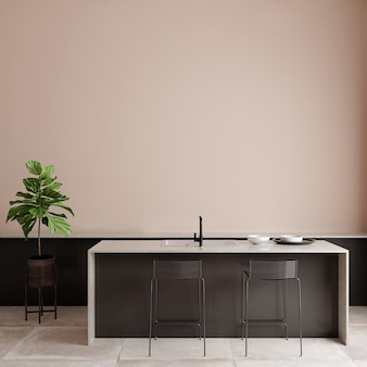 Moderne woonkamer met meubelen voor de roze muur