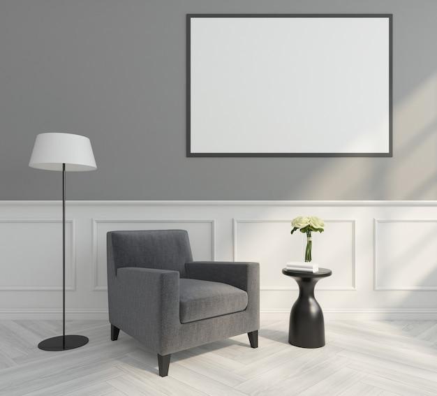 Moderne woonkamer met minimalistische fauteuil, fotolijst en witte muurkroonlijst. 3d-weergave