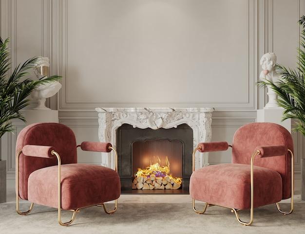 Moderne woonkamer met open haard en rode fauteuils