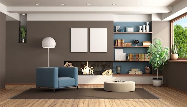 Moderne woonkamer met open haard