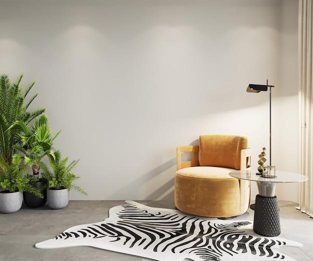 Moderne woonkamer met oranje fauteuil en groene planten, 3d render, muurmodel, frame mockup