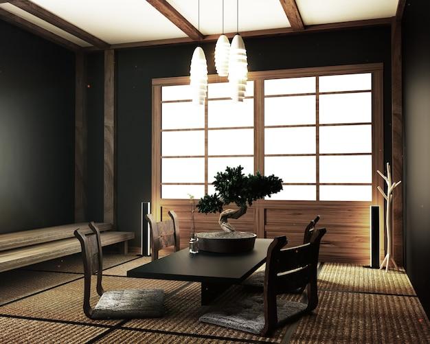 Moderne woonkamer met tafel katana zwaard lamp bonsai boom
