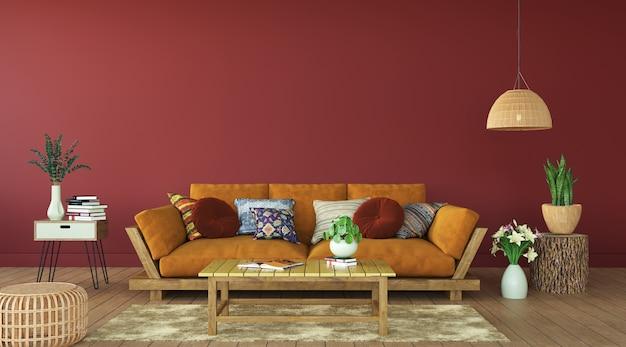 Moderne woonkamer met terracottakleuren, het 3d teruggeven