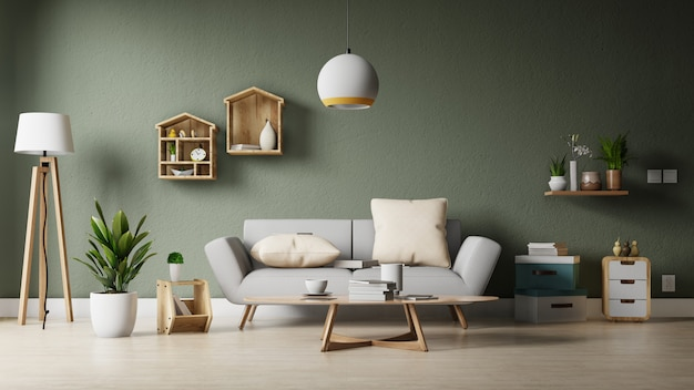 Moderne woonkamer met witte bank hebben kast en houten planken op houten vloeren en witte muur