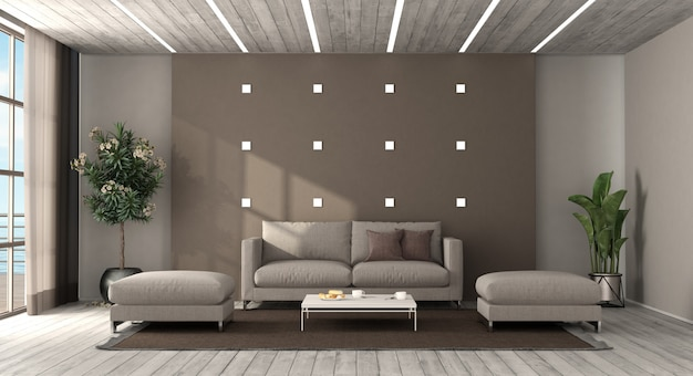 Moderne woonkamer met zithoek en voetenbank