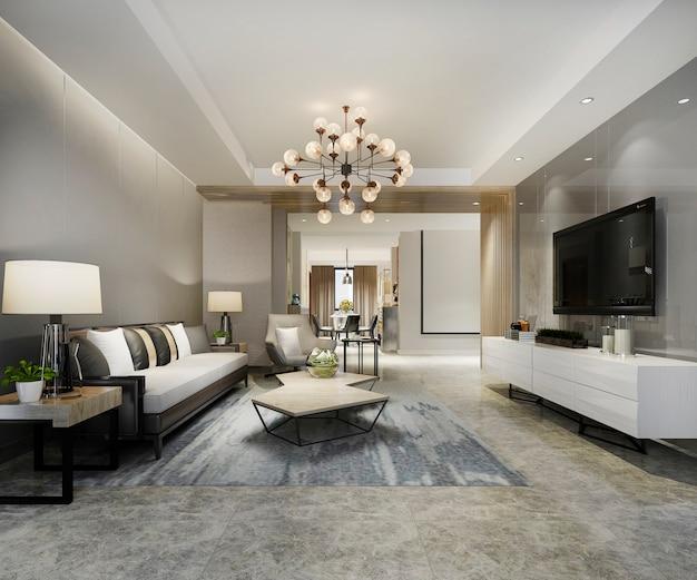 Moderne woonkamer nabij eetkamer met luxe inrichting