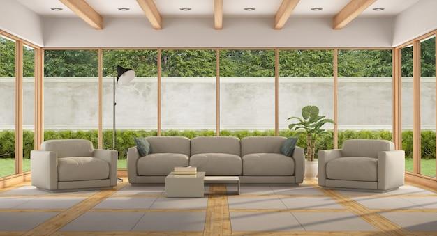 Moderne woonkamer van een vakantievilla met groot raam en tuin. 3d-weergave