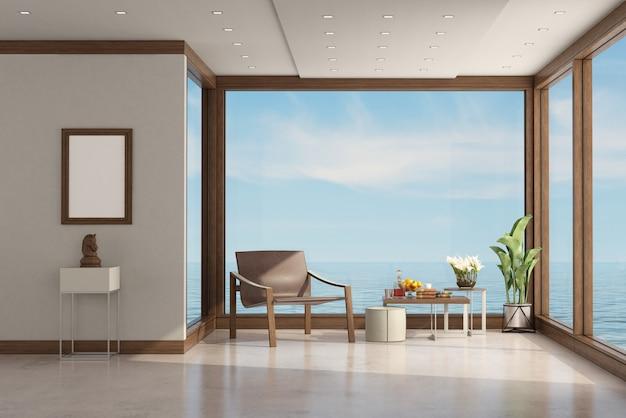 Moderne woonkamer van een villa aan zee