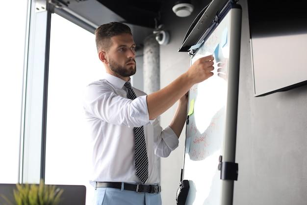 Moderne zakenman gebruikt flip-over op kantoor.