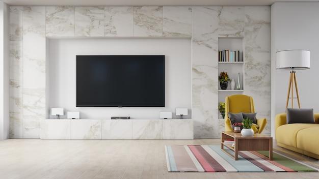 Moderne zitkamer binnenbank en leunstoel, tv op kabinet in moderne woonkamer.