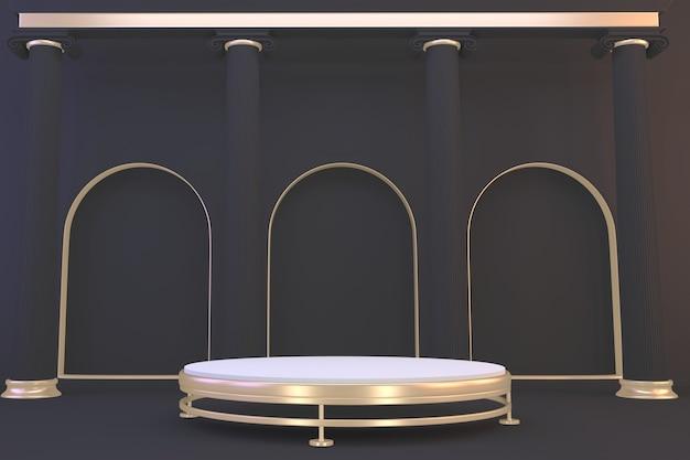 Moderne zwarte granietachtergrond en zwart podium tonen geometrisch cosmetisch product. 3d-weergave