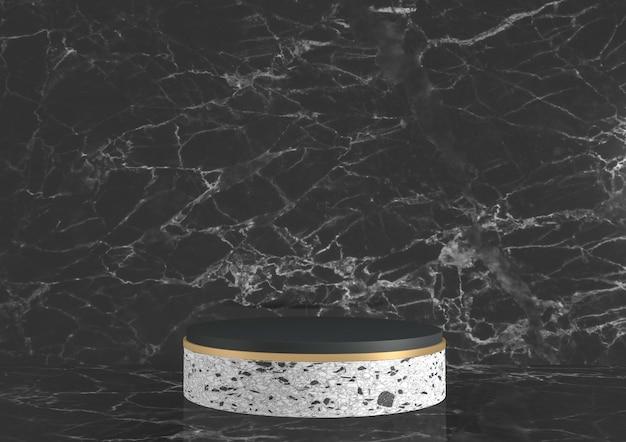 Moderne zwarte granieten achtergrond en podium tonen geometrisch cosmetisch product. 3d-weergave
