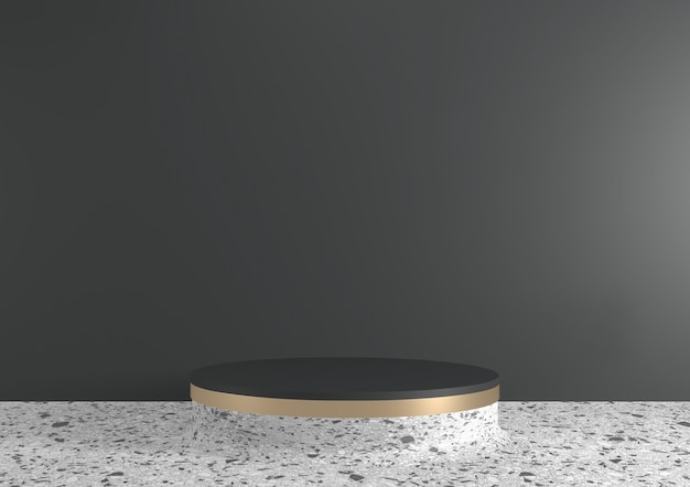 Moderne zwarte granieten achtergrond en wit podium tonen geometrisch cosmetisch product. 3d-weergave