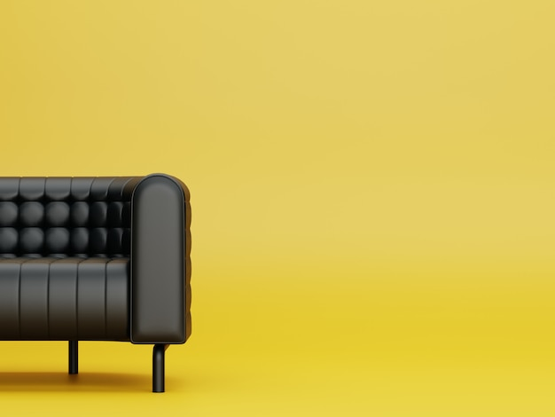 Moderne zwarte kleur bank in gele woonkamer. 3d renderen.