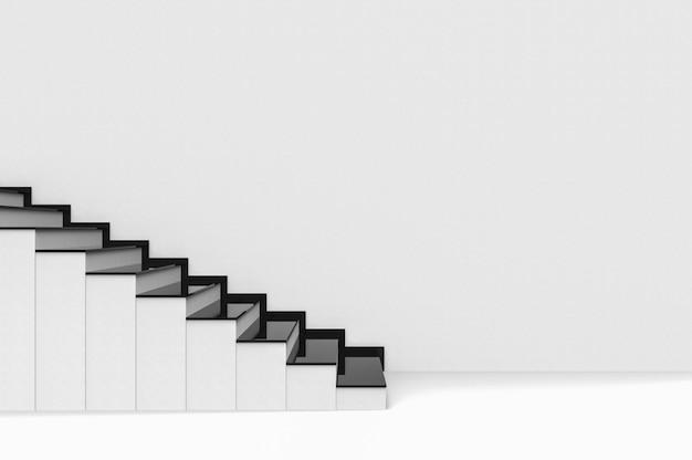 Moderne zwarte plaat op witte cementtrap met achtergrond van de exemplaar de ruimtemuur.