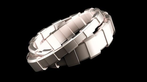 Modieuze armband, versierd met een edelsteen. 3d-afbeelding, 3d-rendering.