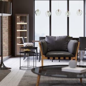 Modieuze design lederen fauteuil met een zwarte vloerlamp in loft-achtige appartementen. 3d-rendering