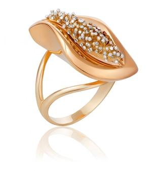 Modieuze gouden ring met kleine edelstenen