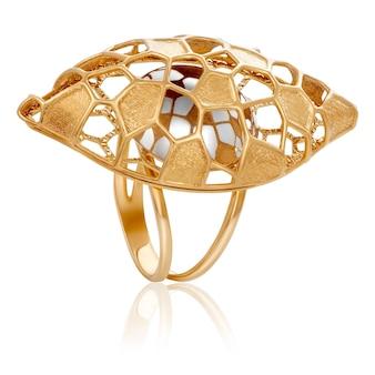 Modieuze stijlvolle gouden ring. de originele gouden ring.