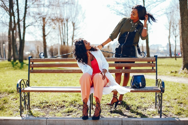 Modieuze zwarte meisjes in een park