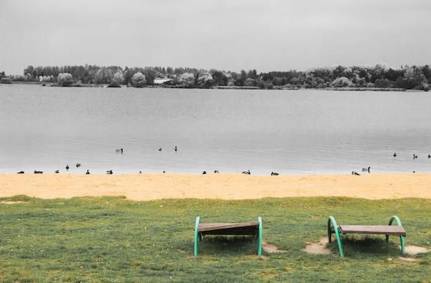 Moedeloosheid herfst concept. leeg strand aan het water met lege ligstoelen. alleen eenden. foto