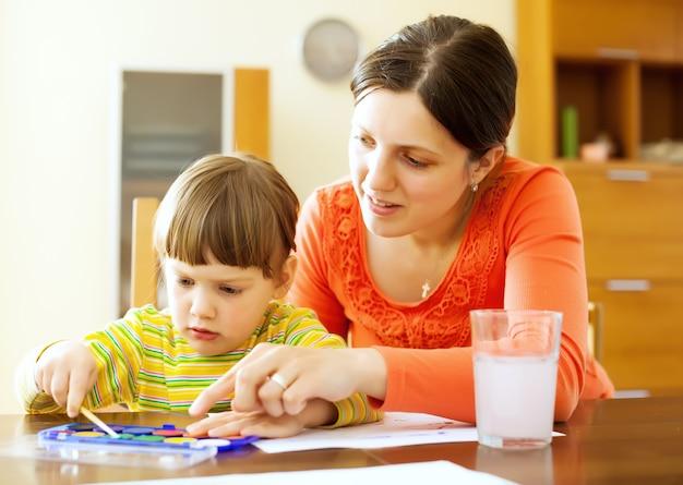 Moeder en baby schilderij op papier