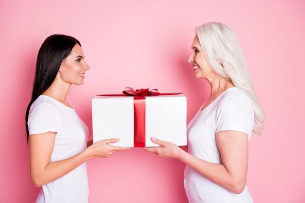 Moeder en dochter bedrijf cadeau geïsoleerd op roze