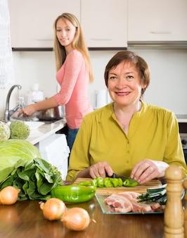 Moeder en dochter koken