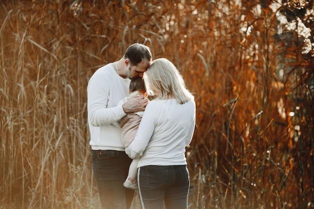Moeder en vader houden op handen een dochtertje